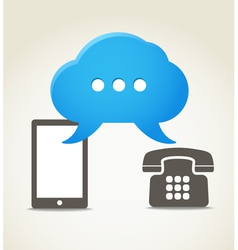 Two phones with speech clouds vector