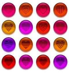 Buttons valentine heart set vector