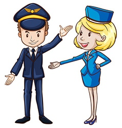 A simple drawing of a pilot and a stewardess vector
