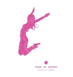 Pink abstract flowers texture jumping girl vector