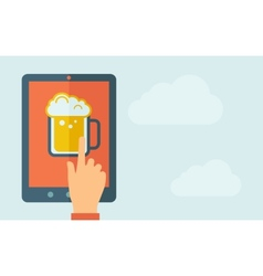 Touch screen tablet with beer mug icon vector