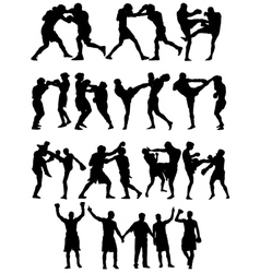 Boxing silhouettes vector