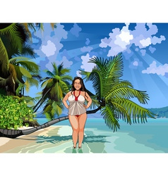 Cartoon fat girl on a beautiful tropical shore vector