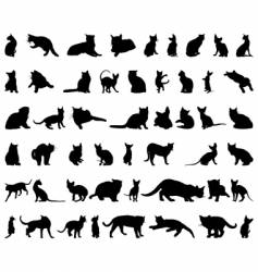 Cat silhouettes set vector