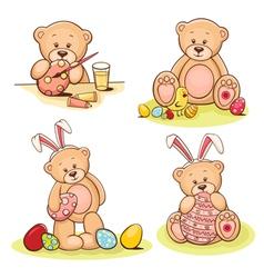 Easter teddy bears set vector