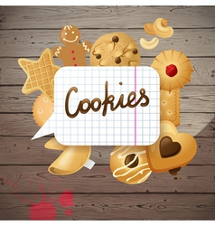 Wooden background with cookies vector