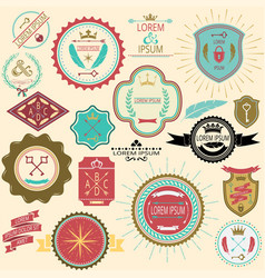 Collection of vintage labels and stamps for design vector