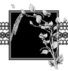 Vintage monochrome background with birch twigs vector