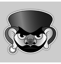 Sticker - evil pirate with hat and earrings vector
