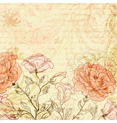 Grungy retro background with roses vector