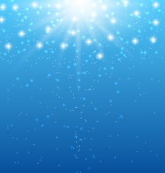 Abstract blue background with sunbeams and shiny vector