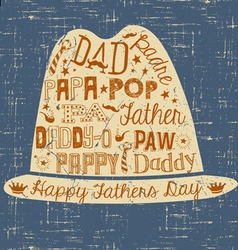 Happy fathers day hand drawn card with hat vector