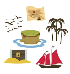 Treasure island game elements vector