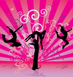 Pink red dance people vector