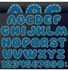 Denim patch font vector