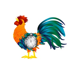 Cock with alarm clock vector