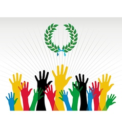 Olympics hands colours laurel wreath vector