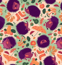 Seamless pattern with hedgehogs and autumn leaves vector