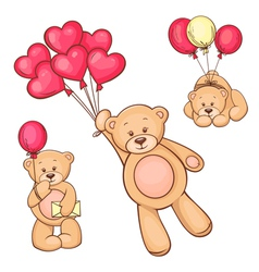 Set of teddy bear and balloons vector