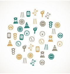 Traffic and driving icons vector