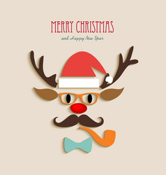 Merry christmas reindeer cartoon vector