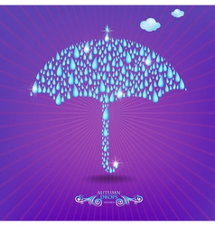 Umbrella with drops vector