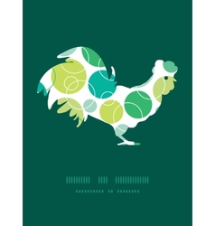 Abstract green circles rooster silhouette vector