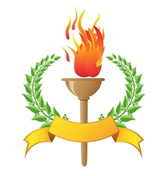 Flame torch with banner vector