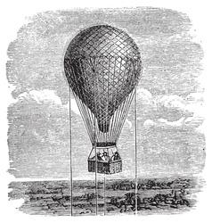 Hot air balloon engraving vector