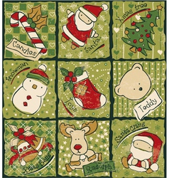 Funny christmas patchwork elements vector