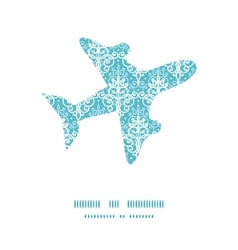 Light blue swirls damask airplane vector