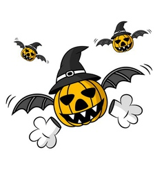 Creepy flying halloween pumpkin vector