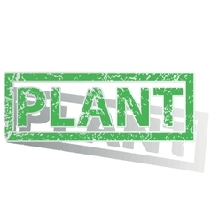 Green outlined plant stamp vector