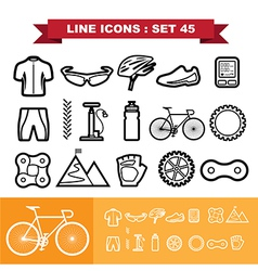 Bicycle line icons set 45 vector