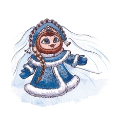 Owl snow-maiden character watercolor isolated vector