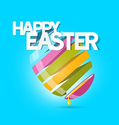Easter colorful egg on blue background vector