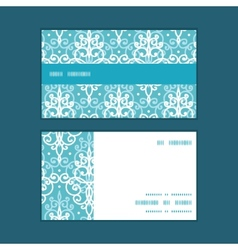 Light blue swirls damask horizontal stripe vector