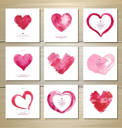 Set of artistic watercolor valentine love hearts vector