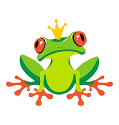 Cartoon isolated frog with crown vector