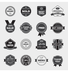Set of black and white retro labels vector