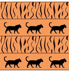 Tiger background with silhouette vector