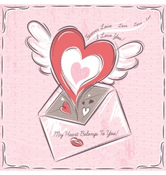 Background with valentine hearts and envelope vector