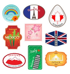 Travel stickers design collection vector