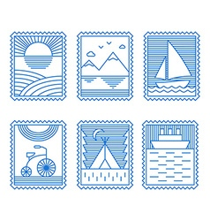 Set of line art for travel or tourism thin line vector