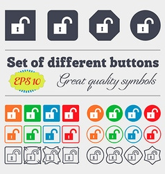 Open lock icon sign big set of colorful diverse vector