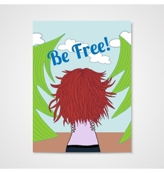 Poster with a woman with developing hair in a vector