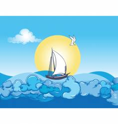 Ocean ship and clouds vector