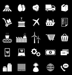 Supply chain icons on black background vector