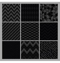 Seamless black geometric hipster background set vector