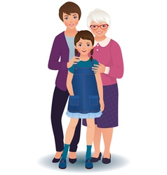 Grandmother with daughter and granddaughter vector